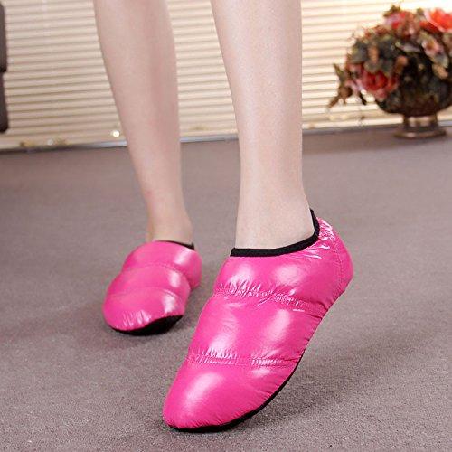 Ladies interior Skid zapatillas de algodón cálido de algodón Casual zapatillas, Rosa Rojo, tamaño mediano