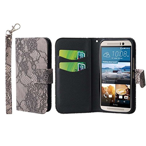 MPERO HTC One M9 Wallet Case, [Flex Flip] Cover with Card Slots and Wrist Strap (Black Lace) (Htc One M9 Best Price)