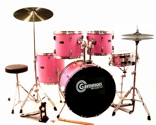 Pink Drum Set For Sale Complete Full-Size Kit with Cymbals and Stands