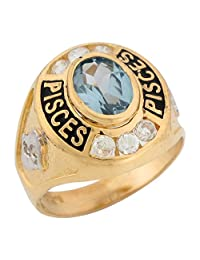 14k Two Tone Gold Synthetic Aquamarine CZ March Birthstone Pisces Zodiac Ring