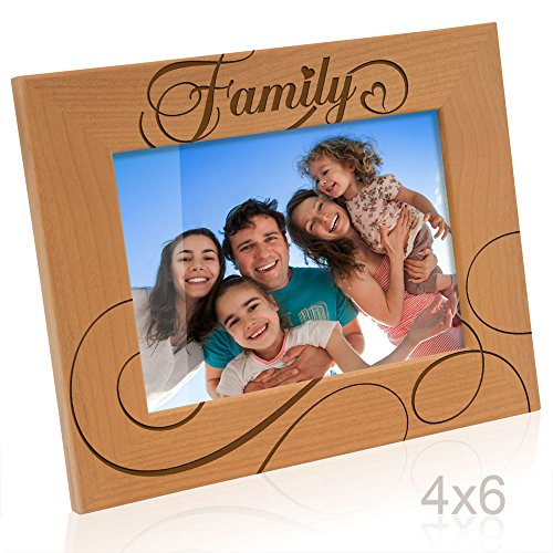 Kate Posh Family Engraved Natural Wood Picture Frame, Housewarming Gifts, First Home Gifts (4x6-Horizontal)