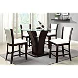 Furniture of America Homes: Inside + Out IDF-3710WH-PT-5PC Coble 5 Piece Counter Height Dining Set, Dark Cherry