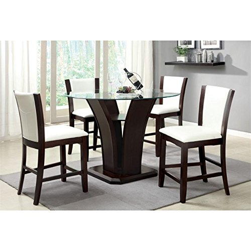 HOMES: Inside + Out IDF-3710WH-PT-5PC Coble 5 Piece Counter Height Dining Set, Dark Cherry