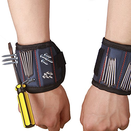 ZhuoLang dd037 Magnetic Wristband with Strong Magnets for Holding Screws Nails Drill Bits Best Tool Gift for DIY Handyman Men Women CTD02 (2 Pack) by ZhuoLang