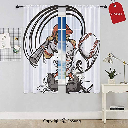 Baseball Cartoon Player Hitting the Ball Boys Kids Caricature Print Rod Pocket Sheer Voile Window Curtain Panels for Kids Room,Kitchen,Living Room & Bedroom,2 Panels,Each 42x72 Inch,Grey Red White