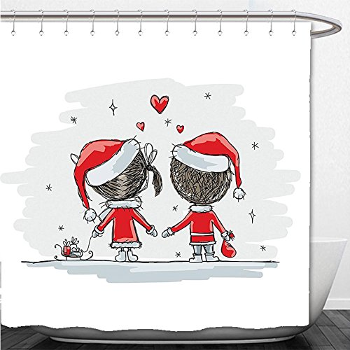 Diy Finding Nemo Costume (Beshowere Shower Curtain Christmas Decorations Collection Soul Mates Love Couples With Santa Costumes Family Romance Winter Night Picture Red White)