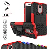 Mama Mouth Shockproof Heavy Duty Combo Hybrid Rugged Dual Layer Grip Cover with Kickstand For LG K8 2017 /LG K4 2017 /LG X300 /LG M200N /MS210 /LV3 (5.0') Smartphone,Red