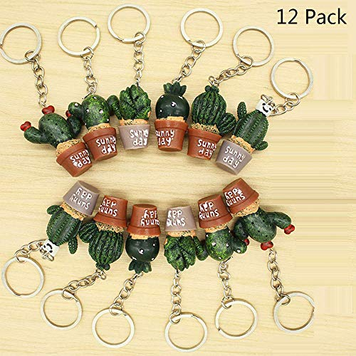 Finduat 12 Pcs Creative Cute Potted Plant Cactus Succulents Shape Keychains Key Rings Chain for Bag Charm Pendant Jewelry