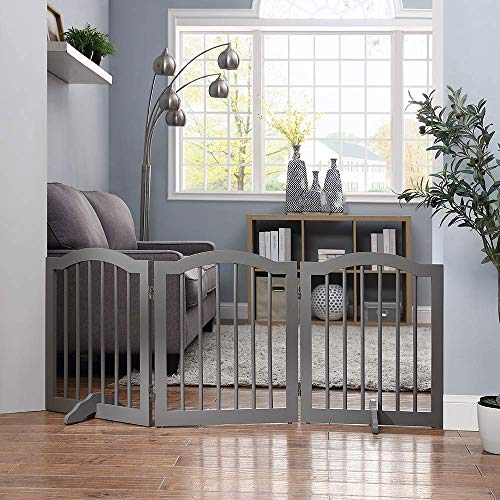 - unipaws Freestanding Dog Gate with 2pcs Support Feet, Foldable Pet Gate for Stairs, Decorative Indoor Pet Barrier with Arched Top, Grey (3 Panels, 20 inches Wide, 24 inches High)