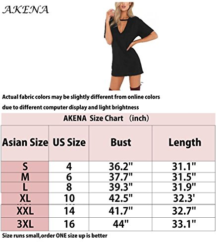 AKENA Casual Choker Loose Sexy Mini Plain T Sleeve Simple Women's Dress Tops Dress Shirt Short Pink Front 5pOnrzpwq