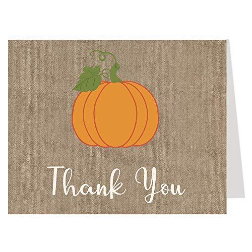 Pumpkin Thank You Cards Burlap Baby Shower Autumn Fall Halloween Sprinkle Folding Thank You Notes Little Pumpkin Birthday Party Bridal Wedding Gender Neutral Unisex Orange Tan Rustic (50 count) ()