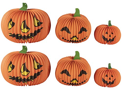 Juvale Halloween Pumpkin Paper Lantern Table Centerpiece Jack-O-Lantern Party Decorations - 6 Pack ()