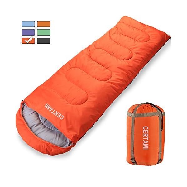CERTAMI Sleeping Bag Envelope Lightweight Portable Waterprooffor Adult 3 Season Outdoor Camping Hiking