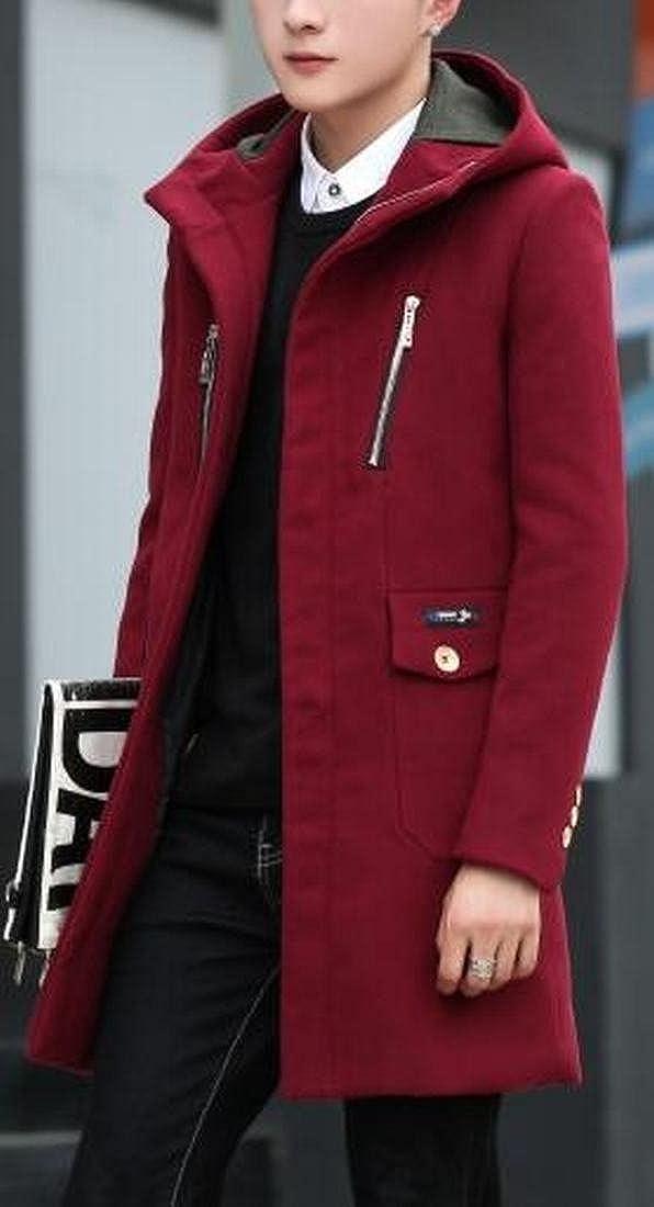 ONTBYB Mens Slim Fit Solid Long Sleeve Zipper Wool Blend Hooded Pea Jacket