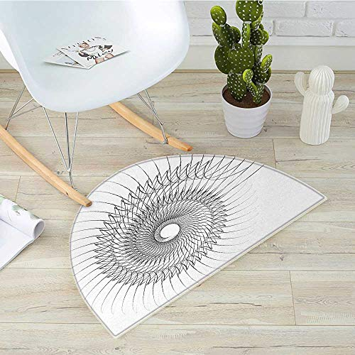 (Spires Half Round Door mats Authentic Geometric Rotary Spiral with Helix Elements and Regular Lines Cyclic Symbol Bathroom Mat H 31.5