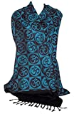 Oma Sacred Symbols Om Design Meditation Shawl Altar Cloth BLUE Color LARGE SIZE - OMA FEDERAL (TM) BRAND