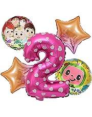 مجموعة بالونات كوكو كرتونية بطيخ مكونة من 5 قطع لتزيين حفلات استقبال المولود ، بالون من الألومنيوم ، عدد بالونات (اللون: وردي رقم 2)
