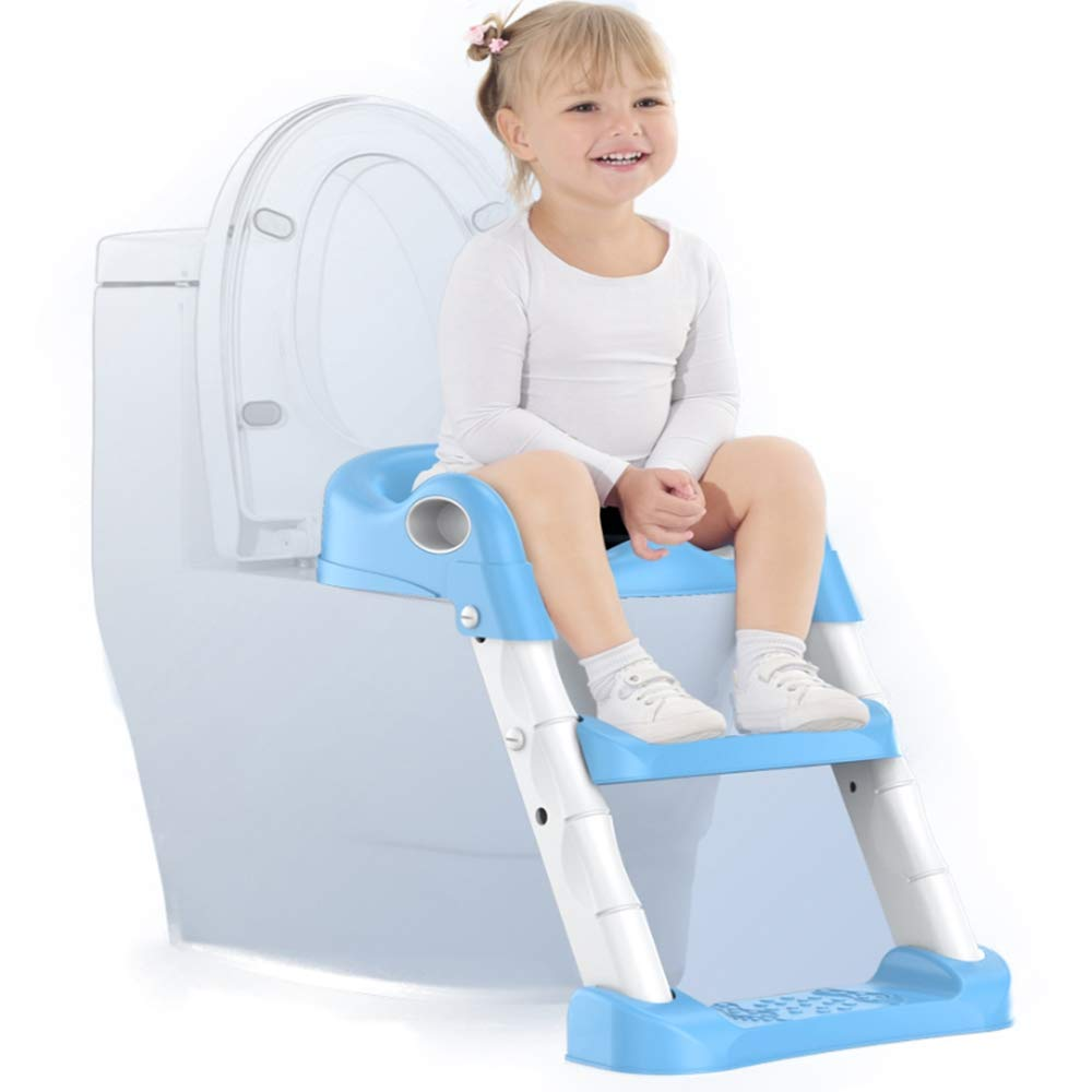Baby Potty Training Toilet Seat with Non-Slip Ladder, Wide Step and Handles - Sturdy, Comfortable and Safe - Fun & Functional Trainer for Kids' Independence on The Toilet,Blue