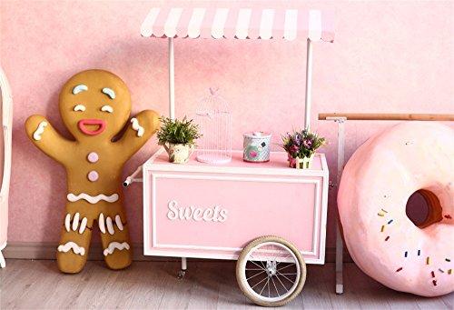 (OFILA Sweet Ice Cream Cart Backdrop 7x5ft Gingerbread Man Doughnuts Kids Birthday Party Decoration Preschool Activity Background Children Shoots Baby Shower Photos Toddler Boys Video Studio Props)