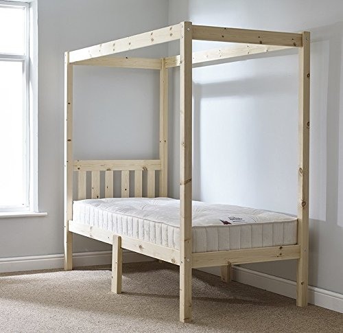 Bed Frame Interior Design Four Poster with Headboard Included (Material: Wood, Color: Natural Pine) (Small Double)
