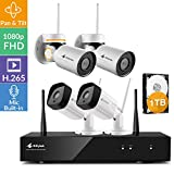 [Pan Tilt Audio 8CH] Kittyhok 1080p FHD WiFi Security Camera System Wireless, H.265 Hub 1TB, 2 Pan Tilt WiFi Cameras, 2 Bullet WiFi Cameras, Built-in Audio, Pan Tilt Zoom, Powered by Long Range WiFi