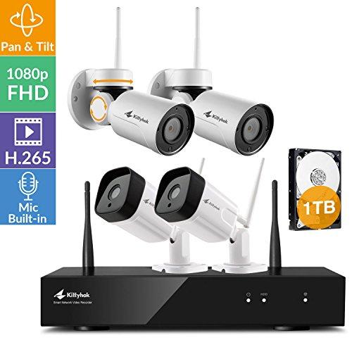 [Pan Tilt Audio 8CH] Kittyhok 1080p FHD WiFi Security Camera System Wireless, 8CH Hub 1TB HDD, 2 Pan Tilt WiFi Cameras, 2 Bullet WiFi Cameras, Built-in Audio, Pan Tilt Zoom, Powered by Long Range WiFi