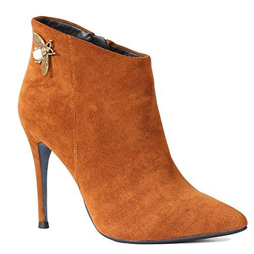 khskx-europe y los Estados Unidos señaló Martin botas de Stiletto zapatos de tacón alto impermeable botas de ante y botas y botas de invierno desnudo, Thirty-eight Thirty-six