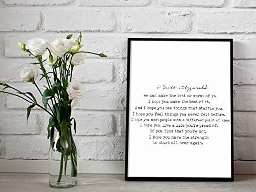 Arvier We Can Make The Best or Worst of It Print F Scott Fitzgerald Quote Printable Great Gatsby Quote Printable Inspirational QuoteTypography Framed Wall Art