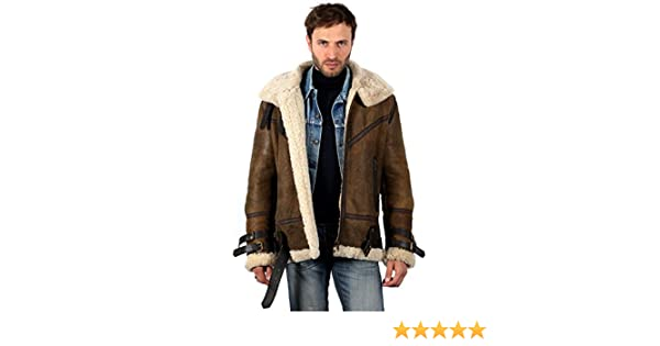 Mens Vintage Brown B3 Sheepskin Aviator Flying Leather Jacket at Amazon Mens Clothing store: