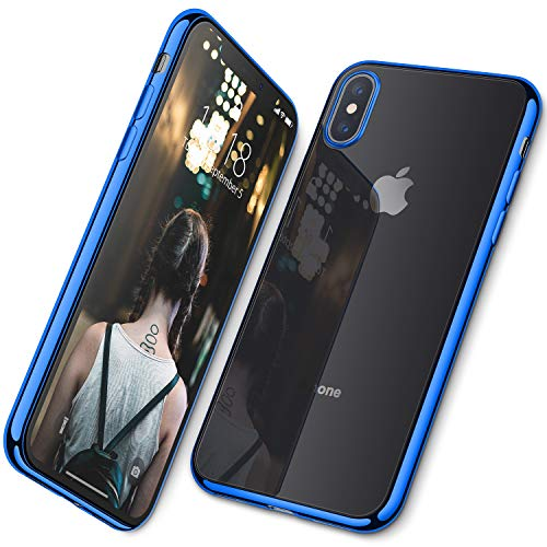 DTTO Case for iPhone Xs, Soft TPU Clear Stylish Cover Anti-Falling Case with Metal Luster Edge for Apple iPhone Xs(2018), Also Compatible with iPhone X(2017) 5.8 Inch- Blue