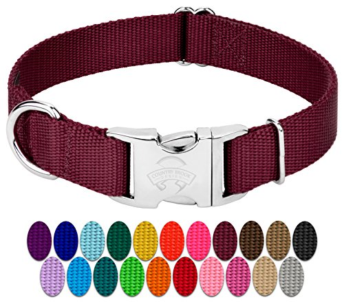 Country Brook Petz | Premium Nylon Dog Collar with Metal Buckle (Large, 1 Wide, Burgundy)