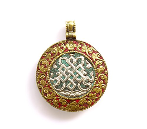 Tibetan Silver ONE of ITS Kind Unique Designer Authentic Gypsy Tribal Boho Pendant for Woman Oxidized Gold Handmade Round Reversible Pendant Turquoise and Coral Gemstone Pendant ()