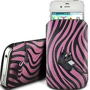N4U Online - Huawei Ascend Y300 protección PU Zebra Diseño deslizamiento cordón tirador de la cremallera en la caja de la bolsa con cierre rápido y Mains CE Cargador - Rosa