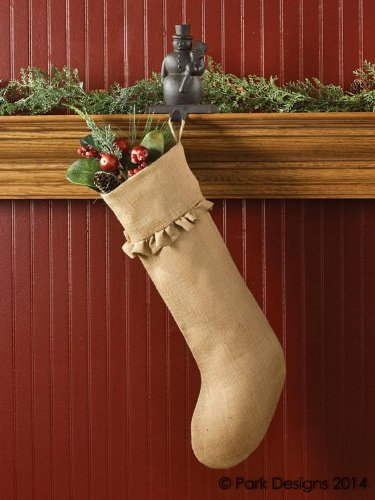 jute burlap stocking natural tan ruffled trim country primitive christmas rustic holiday dcor set of - Primitive Christmas Stockings