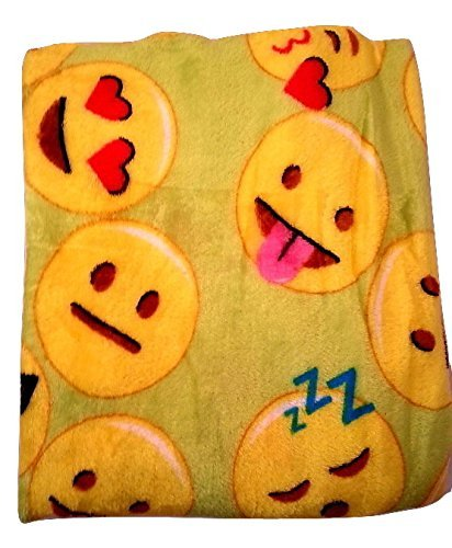 Emoji Faces Green Round Velvet Throw Blanket Kids Plush Soft Toy Toddlers Teens Emojies Expressions WILL Vary 50