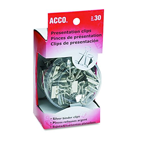 (ACCO Binder Clips, Assorted Sizes, 30 Clips / Tub, Silver (A7071138))