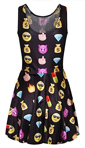 Handu Women's 3D Emoji Pleated Knee-length Print Pattern Reversible Skater Dress Black