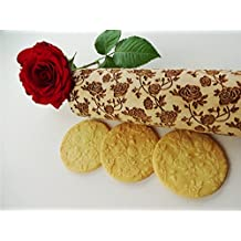 Rolling pin ROSES WREATH. Wooden embossing rolling pin with Oriental flowers. Embossed cookies. Pottery. Birthday gift. Gift for mother
