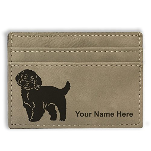 Maltese Money Clip (Money Clip Wallet - Maltese Dog - Personalized Engraving Included (Light Brown))
