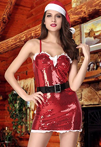 Beatifully Qearl womens Christmas Naughty and Nice Red Twinkling Santa Outfit as shown one size (Naughty School Girl Outfit Ideas)