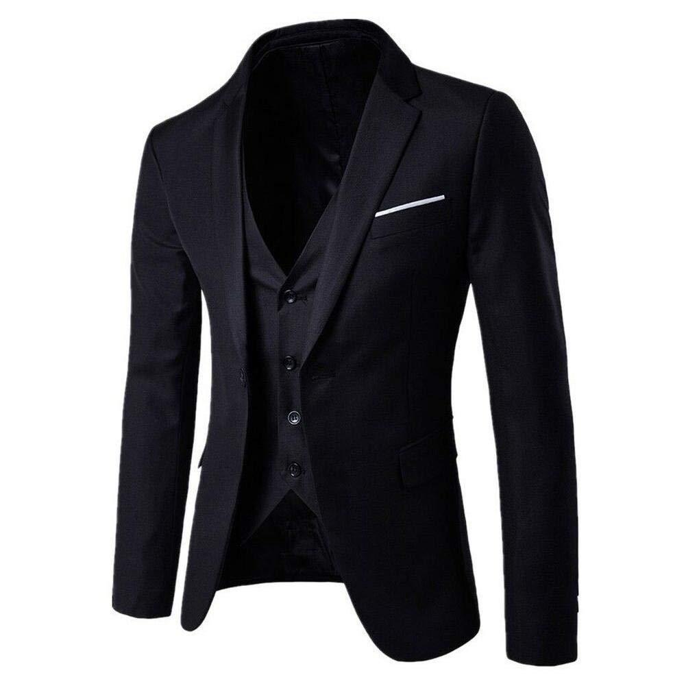 Chaqueta Pantal/ón Chaleco Traje de Boda de Negocios Hombre Blazers Regulares de Hombre Slim Fit Trajes de 3 Piezas para Hombre Disfraz Fiesta Formal Rojo Cl/ásico Negro Gris