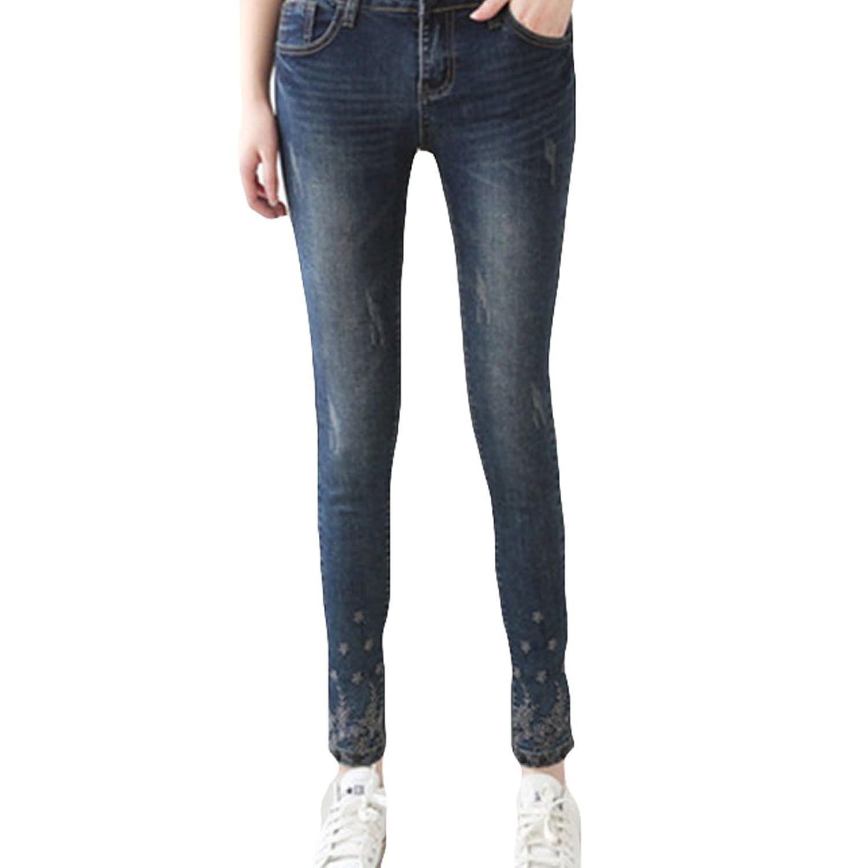 Fashionback Women's Straight Leg Mid Rise Jeans