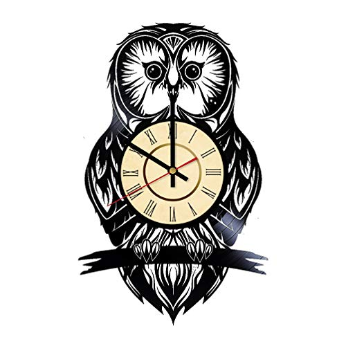 Owl Vinyl Clock Gifts for Night Birds Lovers Cute Owl Wall Decor Owl Hooting Art Bird Handmade Living Room Artwork ()