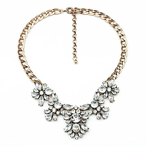 Chunky Necklace (MidnightGirls Crystal Statement Necklace Bib Chunky Necklace Clear Collar Chain)