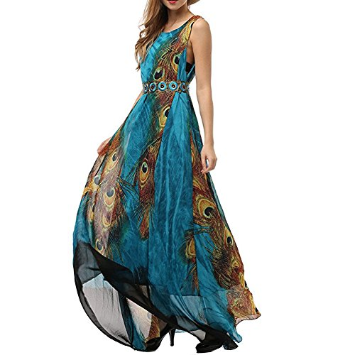 Plus Size Peacock Dress (MUMUBREAL Women's Peacock Printed Bohemian Summer Maxi Dress Plus Size 3XL)