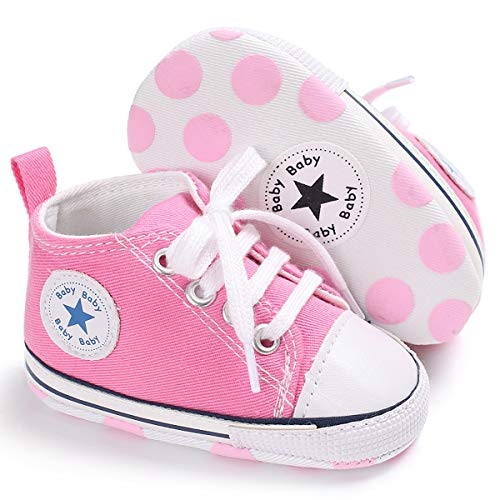 Unisex Baby Girls Boys Canvas Shoes Soft Sole Toddler First Walker Infant Sneaker Newborn Crib Shoes(Pink,6-12Month) (Jordan New Shoes Baby)