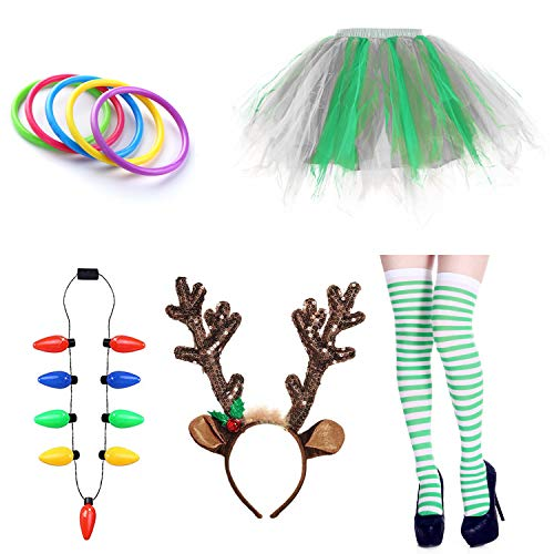 Christmas Party Tutu Skirt Reindeer Headwear Costume Outfits for Womens (Green&White)