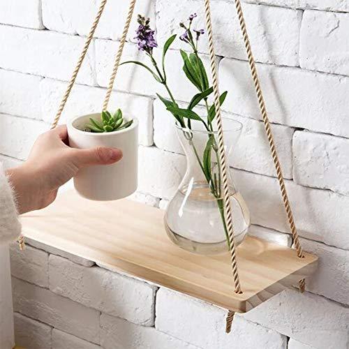 Hangende schommelplank, houten wandplank in Boheemse stijl, hangrek, voor slaapkamer voor woonkamer(45 * 14 * 1.5)