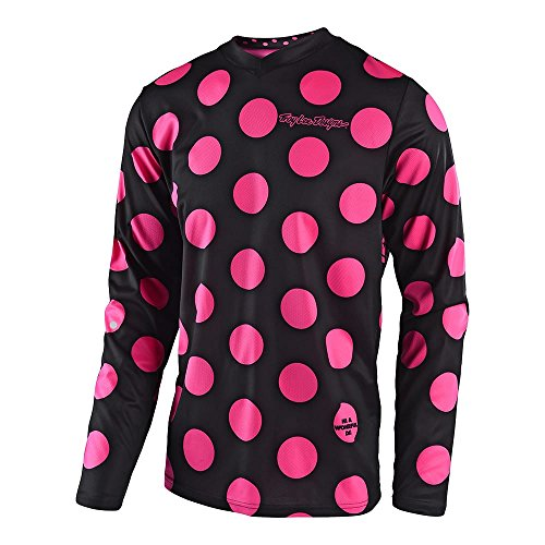 Youth Kids Mx Motocross Jersey - Troy Lee Designs Youth Kid's Offroad Motocross Polka Dot GP Jersey (Large, Black/Flo Pink)
