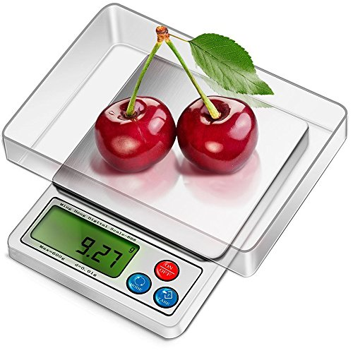 CestMall High Precision Digital Kitchen Scales(0.0001oz/0.01g 600g) Multifunction Food Pro Pocket Scales Mini Portable Electronic Multipurpose Scales with Back-Lit LCD Display & Removable Transparent Tray for Jewelry/Ingredients/Kitchen (Battery Included)